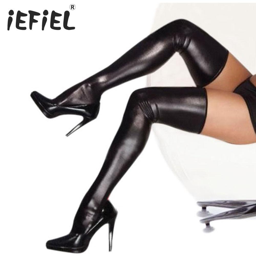 Compre IEFiEL es De Alta Calidad Sexy Lady Hot Sales Abrigo De Mujer De La Pintura  De Cuero De La PU Medias Muslo Medias Altas Traje De Medias A  28.25 Del ... 07d63b282c90