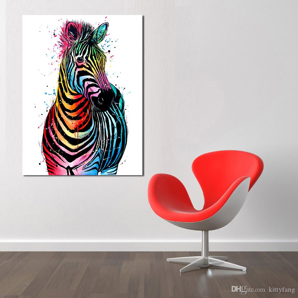 1 Panel Canvas Art Colorful Zebra Animal Painting Wall Pictures For Living Room Painting Posters And Prints Home Decor No Frame