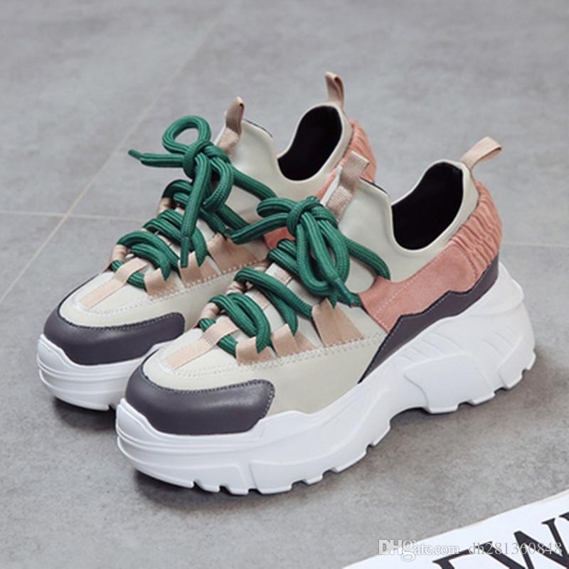 bcc173636cfa 2019 Women Sneakers 2018 New Fashion Women Casual Shoes Trends Ins Female  Flats Platform Spring Autumn Lace Up Shoes Woman Size35 40 From  Dh281360848
