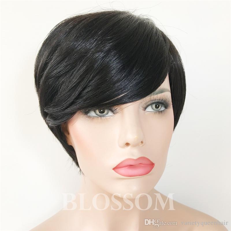 100% Human Hair Short Pixie Wigs Brazilian Hair None Lace Bangs Short Hair Wigs For African American Wigs