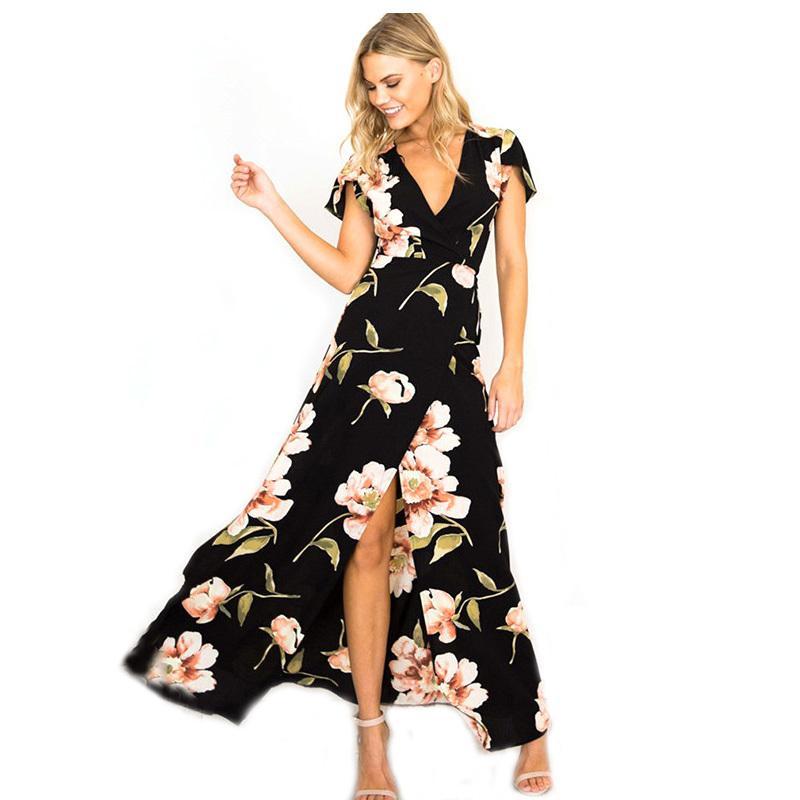 76a59ac6712 2018 New Summer Long Dress Floral Print Boho Beach Dress Sexy Front Split Dress  Women Party Sundress Vestidos Ladies KH704813 Strapless Dresses For Teens  ...
