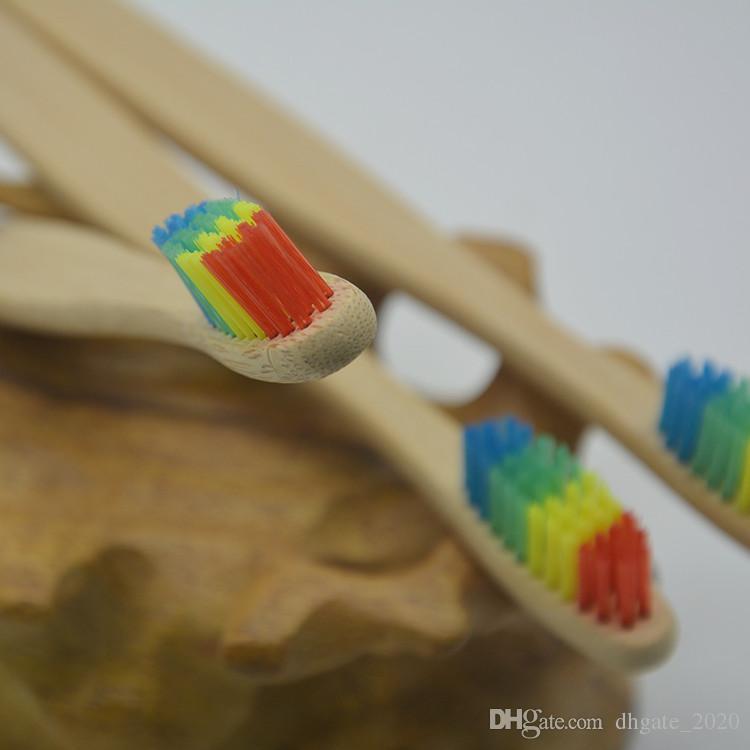 2018 الملونة رئيس الخيزران فرشاة الأسنان بالجملة البيئة rainbow الخيزران فرشاة الأسنان العناية بالفم شعيرات ناعمة dhl