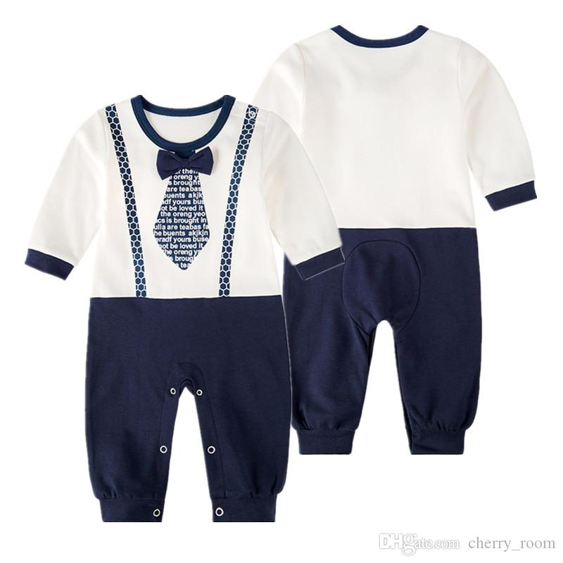 2019 Boys Baby Gentleman Bodysuit Cotton White Black Babies Rompers Bow  French Terry Onesies Newborn Romper Toddler Infant Clothes A8344 From  Cherry room 99135b330dfb