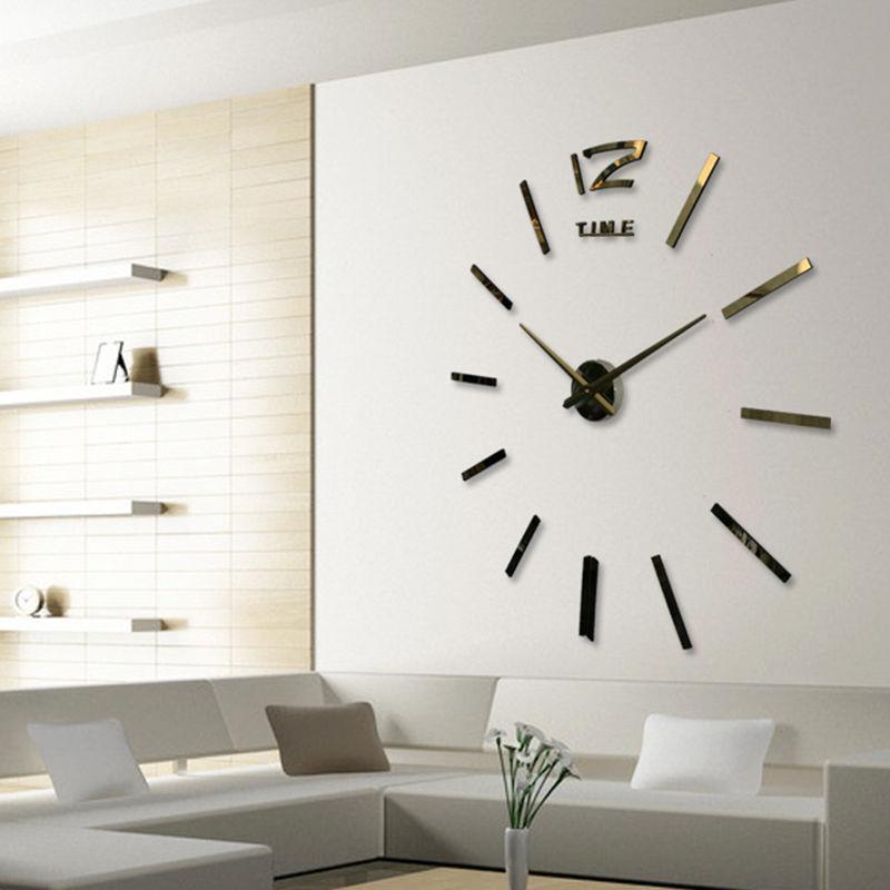 97a6c256ebcc Compre Moderno 3d Real Grande Reloj De Pared Espejo Corrió Etiqueta De La Pared  Sala De Estar Decoración Del Hogar Bricolaje Relojes De Moda Relojes De ...