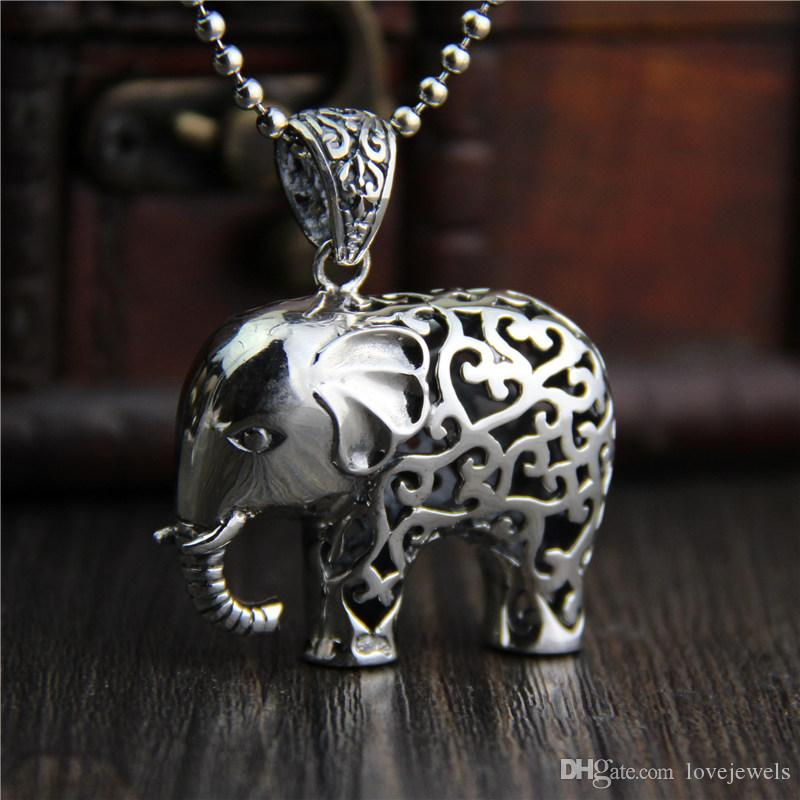 Wholesale hip hop jewelry 925 sterling silver elephant pendant wholesale hip hop jewelry 925 sterling silver elephant pendant fashion vintage marcasite necklace for women hollow thai elephant sweater chain china love aloadofball Image collections