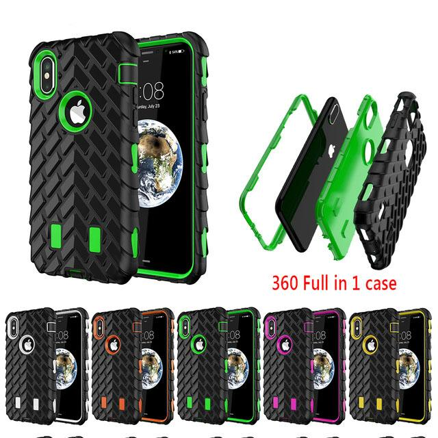 best service 6a9ee b5f78 For iPhone X 360 Full Protect Case For iPhone 4s X 7 8 5 6S Silicone Hard  Cover Plastic Phone Cases