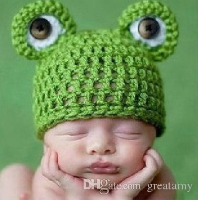 Cute frog baby kids infant toddler girl warm beanie knit hat cap Newborn Photography Props Accessories