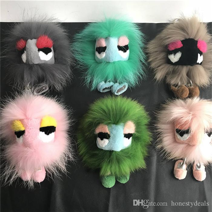 d41b2e179337 Real Genuine Fox Rabbit Fur Monster Bag Bug Charm Doll Toy Fur Pompom Ball  Keychain Keychain Tassels Pendant Handbag Key Case Password Management From  ...