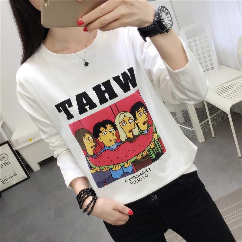 Compre Camiseta De Las Mujeres Moda Vintage Tops Harajuku Otoño Manga Larga  Camiseta Impresa Mujeres Camisas De Gran Tamaño Regular Divertido Hip Hop  Tees A ... 4b1b40558cb