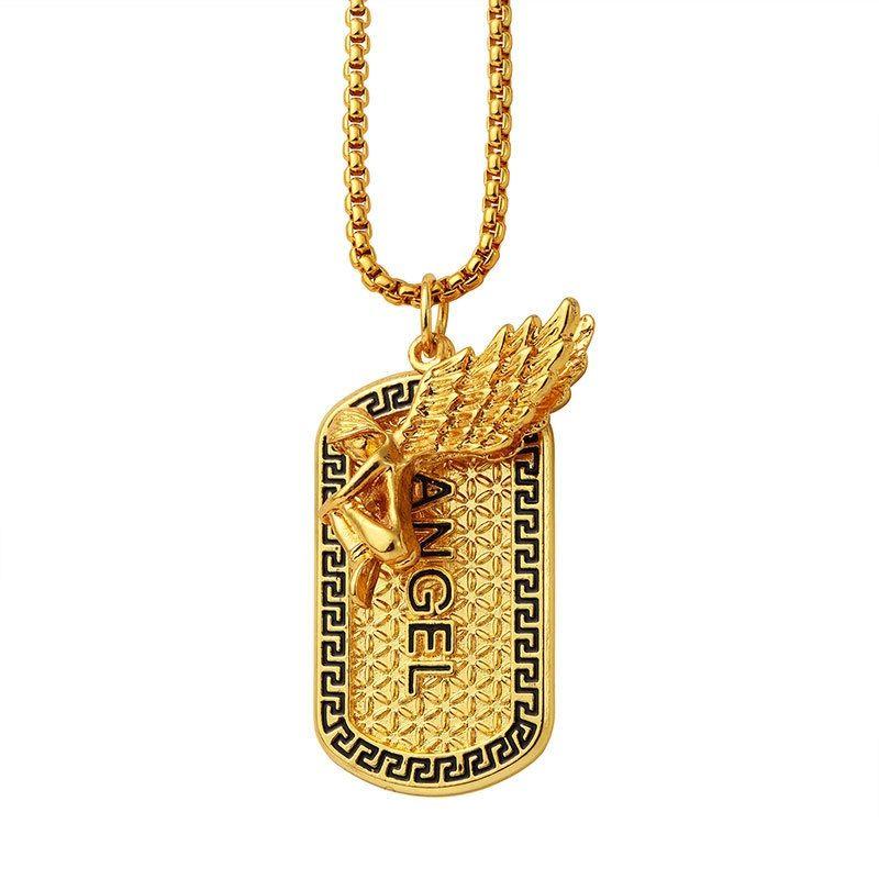3502272c61d6 Men Angel Dog Tag Pendant Necklace Rock Micro Hip Hop Fashion ...