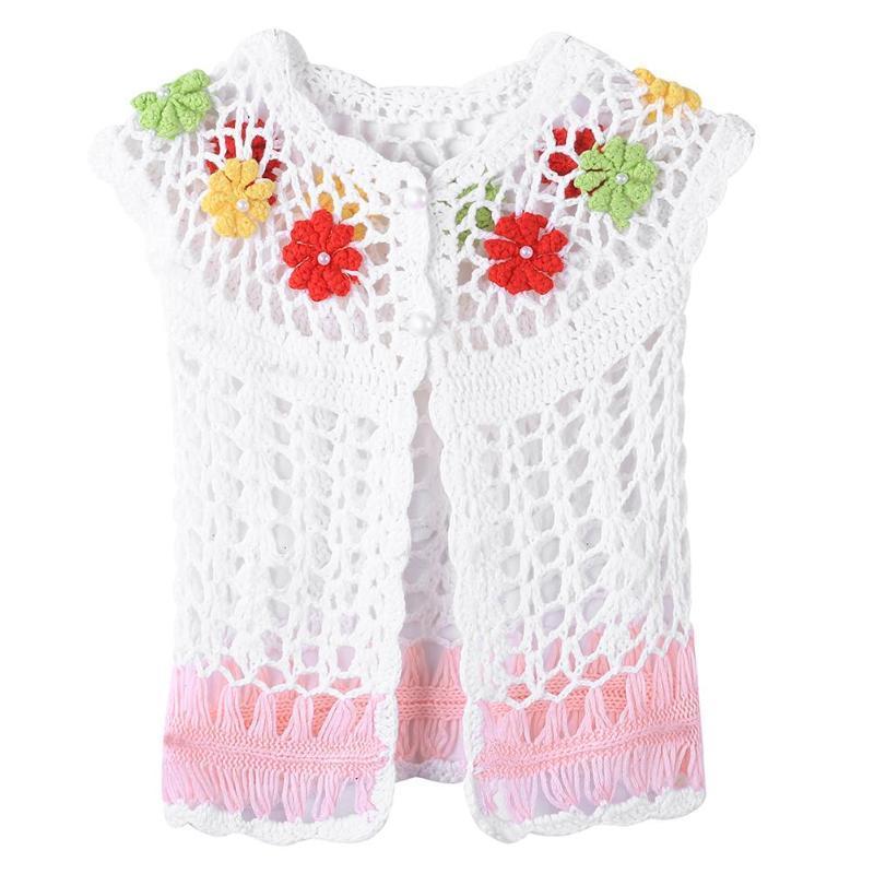4ea46daf3684 Summer Handmade Baby Girls Short Sleeve Crochet Knitted Cardigan ...