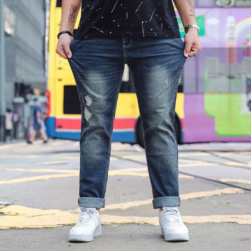 cb7e0edfd9161 2019 Plus Size 5XL 6XL 7XL Elastic Band Jeans For Men Spring Casual Holes  Jean Mid Waist Long Elastic Big Size 48 Denim Trousers Blue From Burtom