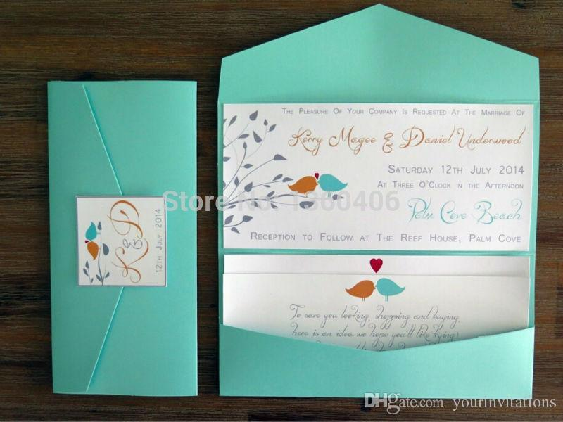Customize 100x Diy Blue Pocket Fold Wedding Invitations Pocketfold With Envelops