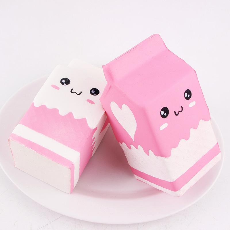 11cm kawaii smile Squishy milk box Squeeze fun Soft Slow Rising stress reliever jumbo Squishes PU Cute Anti stress toys