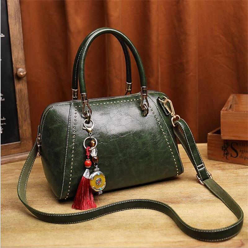 Bolsa Feminina Messenger Bags Luxury Designer Women Genuine Leather Handbag  Vintage Style Tassel Shoulder Bag Female Sac A Main Handbags Brands Womens  ... e110476cd7d10