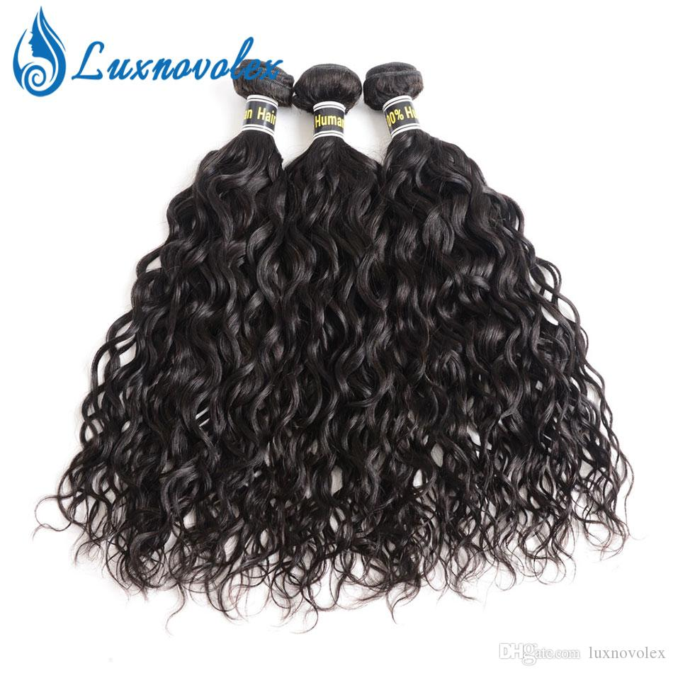 Cabelo Humano Cabelo Virgem brasileira Water Wave 3 Pacotes não processado brasileiro Pacotes / Natural Color Hair Extensions Dyeable