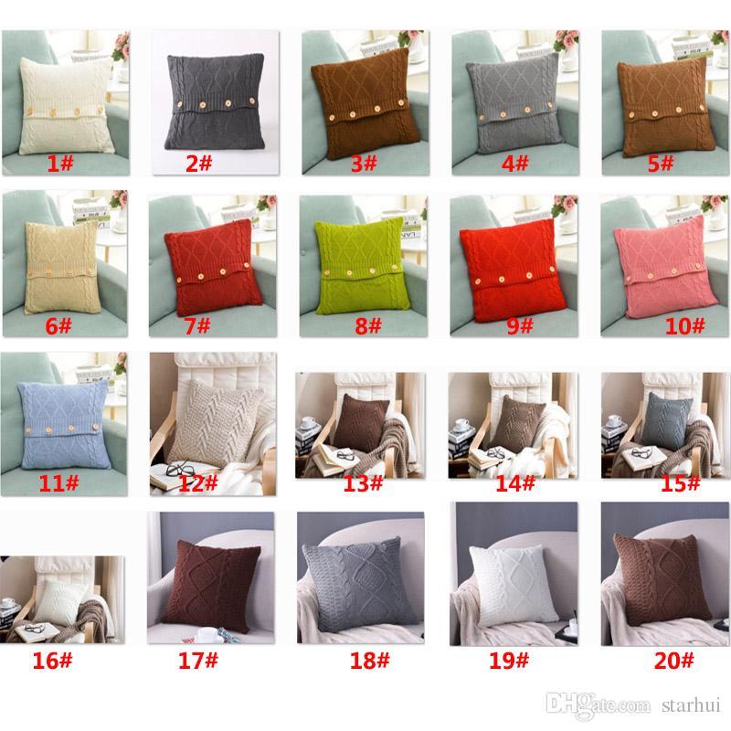 20 Designs Knitted Pillow Case Cover European Crochet Button Chevron Sofa Car Cushion Cover Home Decor Christmas XMAS Gifts 45*45cm WX9-215