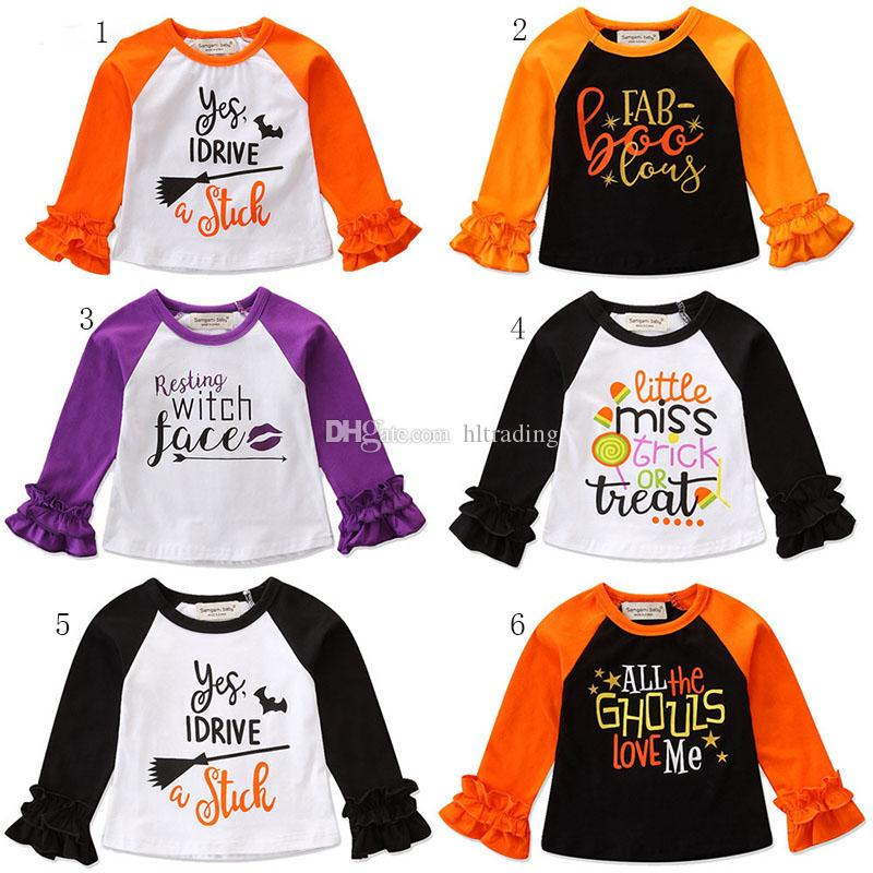 a22d48fc4be 2019 Halloween Baby Girls Letter Print T Shirts 2018 Autumn Ruffle Long Sleeve  Shirt Tops Cotton INS Children Tees Kids Clothing C4973 From Hltrading