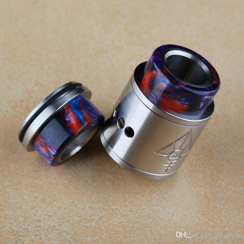 Epoxy Resin Stainless Steel Drip Tip Wide Bore Mouthpiece Big Chuff Cap for 24mm 25mm RDA RBA RTA RDTA Tank Atomizer Vape DHL