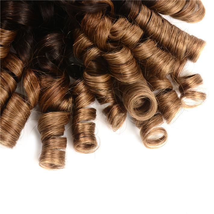 Цветной 1B 4 30 Комплект волос Ombre Нигерия Aunty Funmi Перуанские девичьи волосы для волос 3 тонны Блондинка Весна Curly Tissage Ombre Weaves