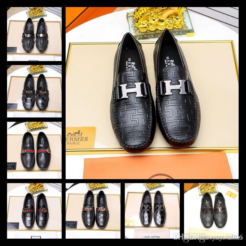 18ss Luxus Herren Loafers Lederschuhe Kleid Hochzeit Casual Walk Schuhe Büroarbeit Made in Italy Schuhe Tops Größe 38 45