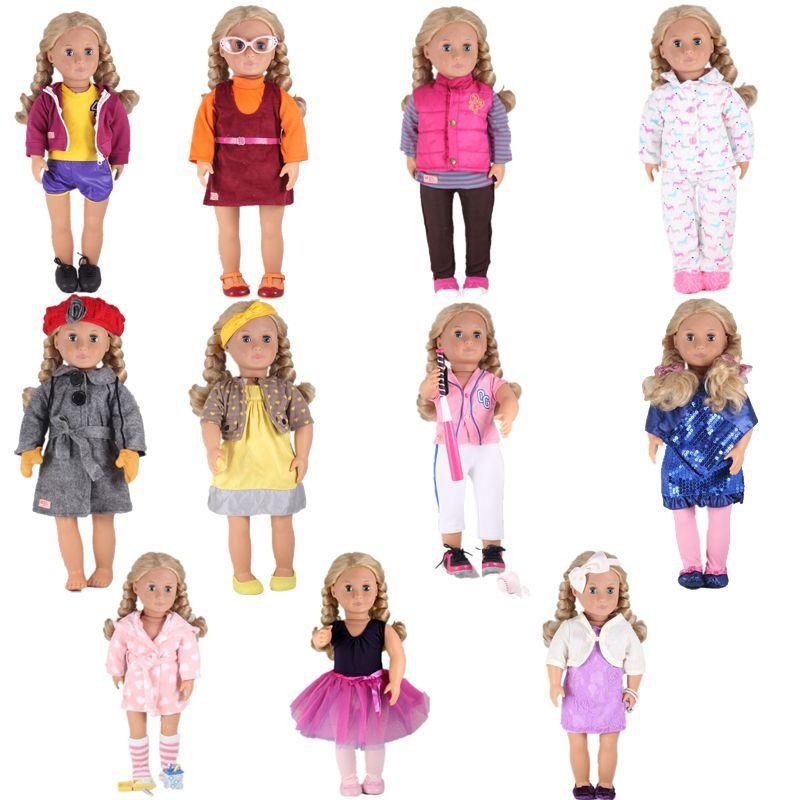 2a5d9972cf392 Купить Оптом 11 Видов Стилей Новый Год Наше Поколение Праздник Кукла  Униформа Куклы Аксессуары Для 18 Дюймов Американская Девушка Любой 43 См  Отbenedicty В ...