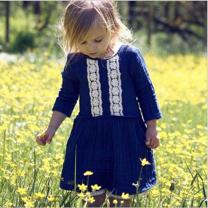 4da8f9b2d28 2019 Ins Girls Linen Cotton Dresses Girls Royal Blue Lace Dress Toddler  Long Sleeved Princess Dresses Kids Fashion Beach Dresses YL169 From  Bling world
