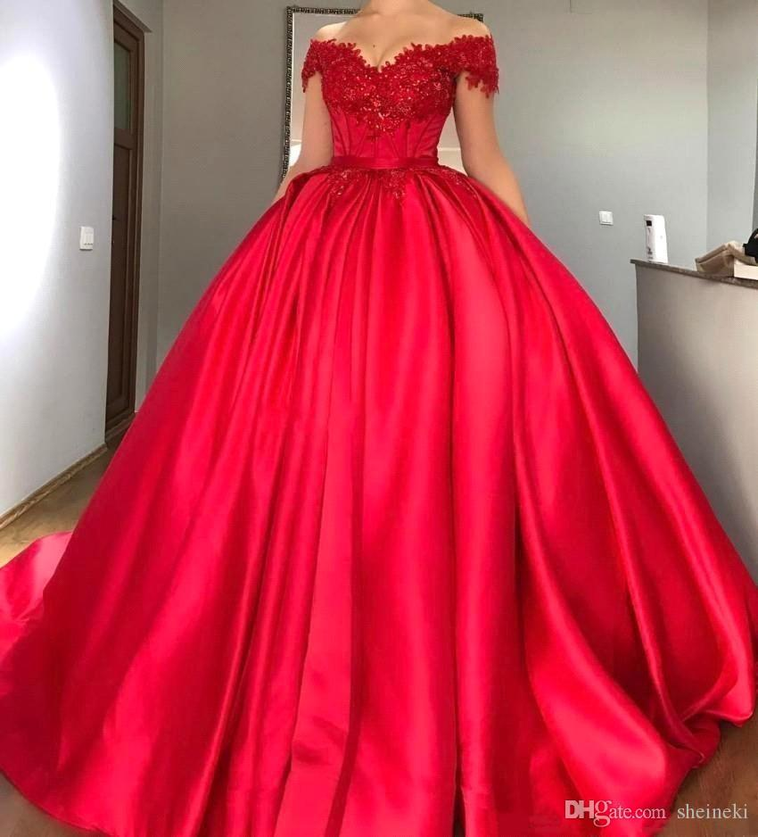 3a0019d87bd0be 2018 Elastic Satin Red Off The Shoulder Lace Applique Ball Gowns Evening  Dresses Sleeveless Beaded Floor Length Prom Gowns Dresses Dress Long Dresses  For ...
