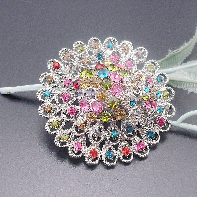 Varejo Rodada Bela Multi-cores Cristal Strass Floral Pin Broche, Item No .: BH7544