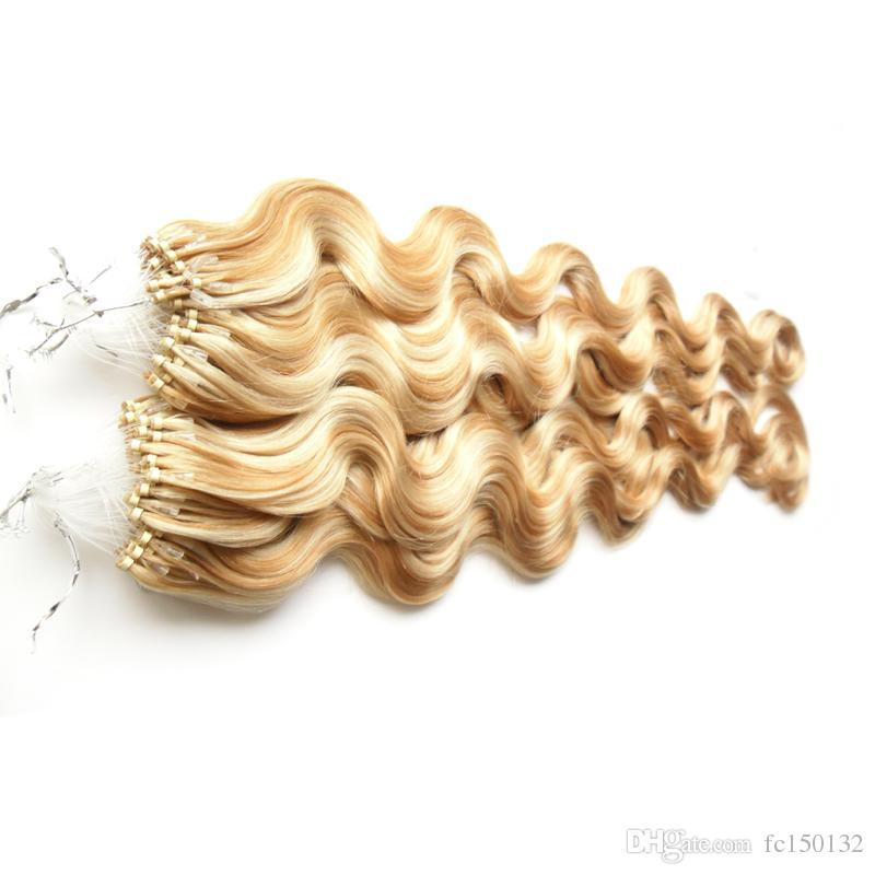 Цвет p27 / 613 Virgin малайзийский тела волны волос петли микро кольцо волос 200g 100% человека микро шарик ссылки машина сделала Remy наращивание волос