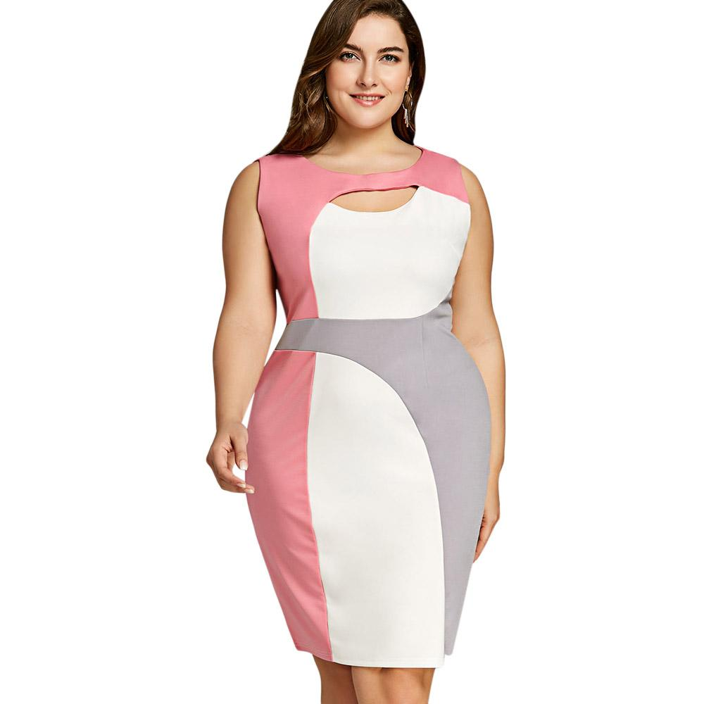 Gamiss Women Fashion Sheath Plus Size 5XL Knee Length Color Block Work  Dress Summer Sleeveless Knee Length Bodycon Dress Vestido