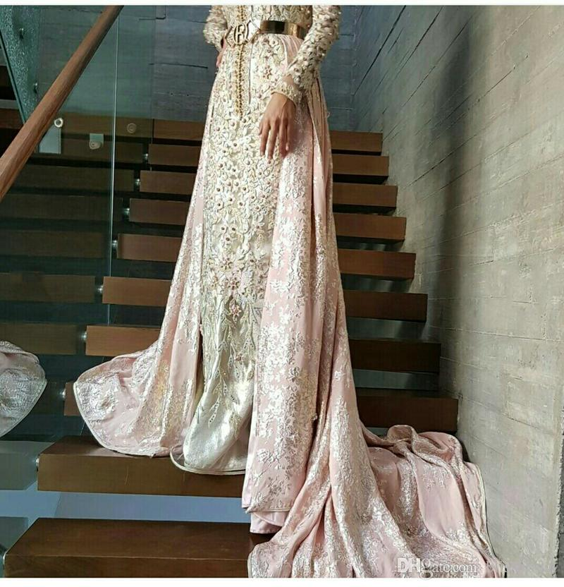 Long Sleeved Pink Mermaid Caftan Morocan Dress Mixed with Western Prom Evening Dresses Combination of Tradition and Modern Moroccan Kaftan