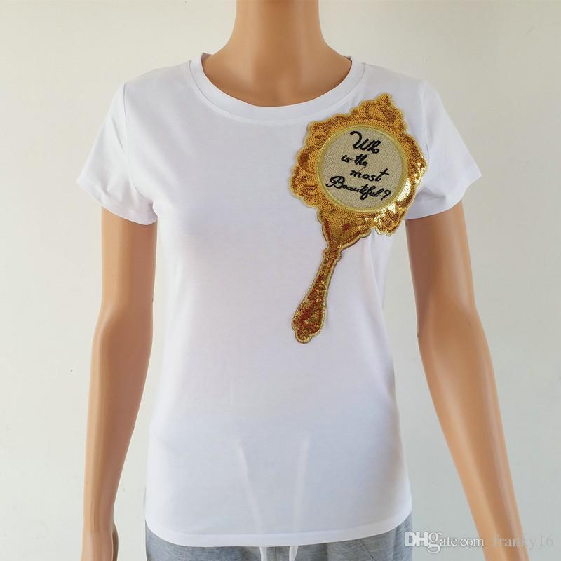 Black White Tops T-shirts Femmes Sequins Magic Mirror Print T-shirt à manches courtes Casual American American Slim Vêtements en coton Shirt