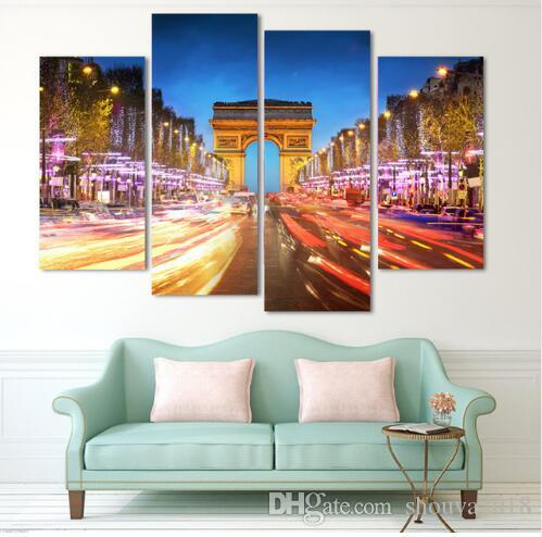 New Night Landscape of The Arc De Triomphe In Paris Wall Art Picture Modern Home Decor Living Room Canvas Print Painti