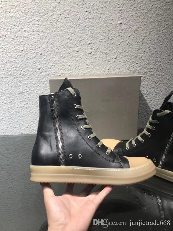 2018SS أخمص القدمين واستبدالها بمفردها الأصلي TPU الأصلي عبق الوحيد الأرض لهجة نباتي عالية أعلى حذاء جلد طبيعي مدرب أحذية