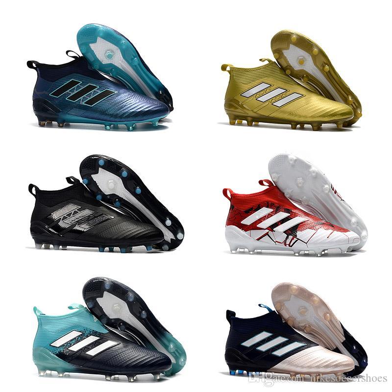c9425025d4 Compre Nova ACE 17 + PureControl FG Mens Futebol Ao Ar Livre Sapatos Venda  Quente Clássico Sapatos De Futebol De Champagne Chuteiras Frete Grátis Alta  Ankle ...