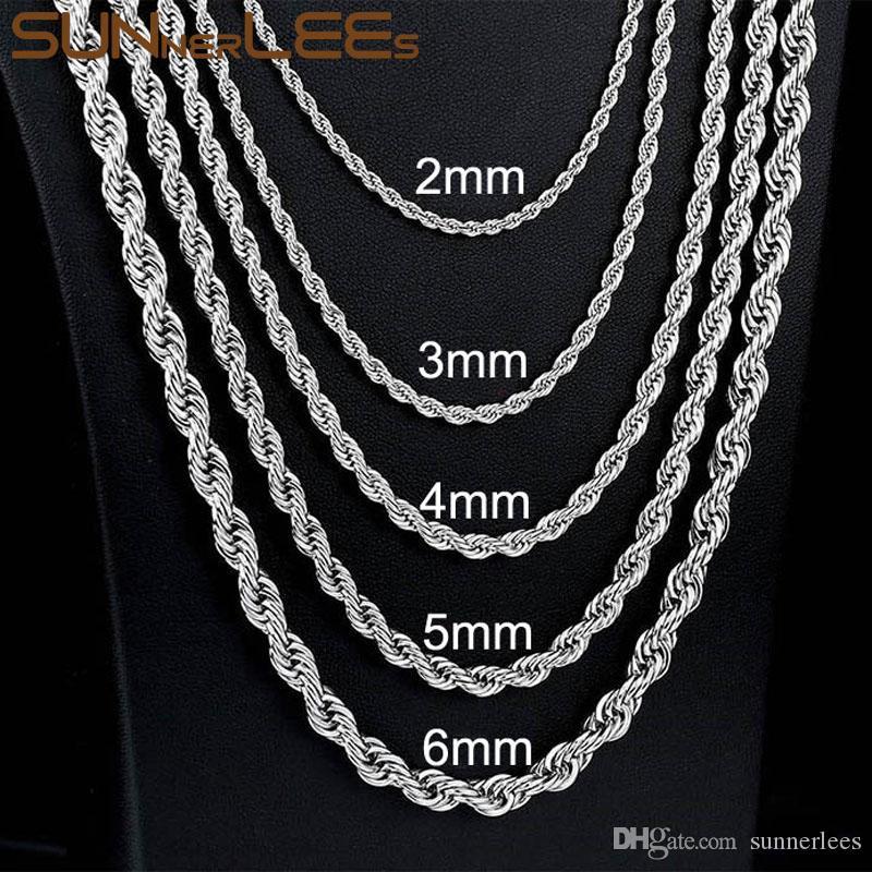 450ec97cfce3 Compre Joyería De Moda Collar De Acero Inoxidable 2mm 4mm 6mm Cuerda Cadena  De Eslabones Trenzados De Color Plata Para Hombres Mujeres Regalo SC12 N A   4.03 ...