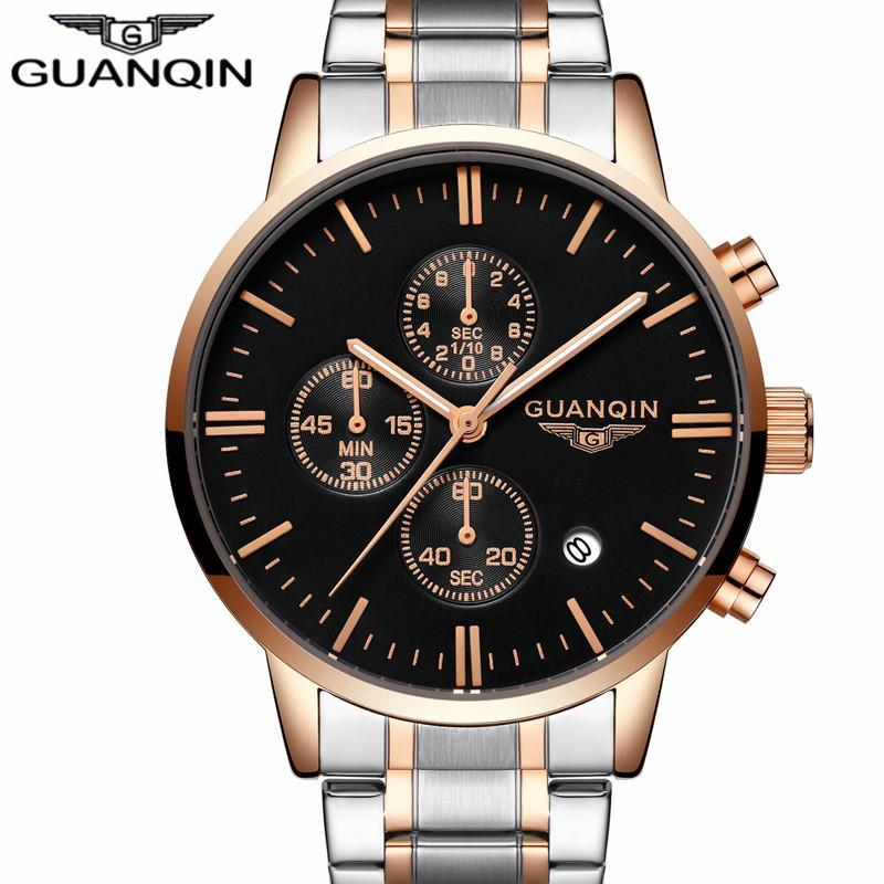 9e3975d1da2 Compre Relogio Masculino Original Guanqin Mens Relógios Top Marca De Luxo  De Aço Completo Relógio De Quartzo Dos Homens Do Esporte Mãos Luminosas  Relógio De ...