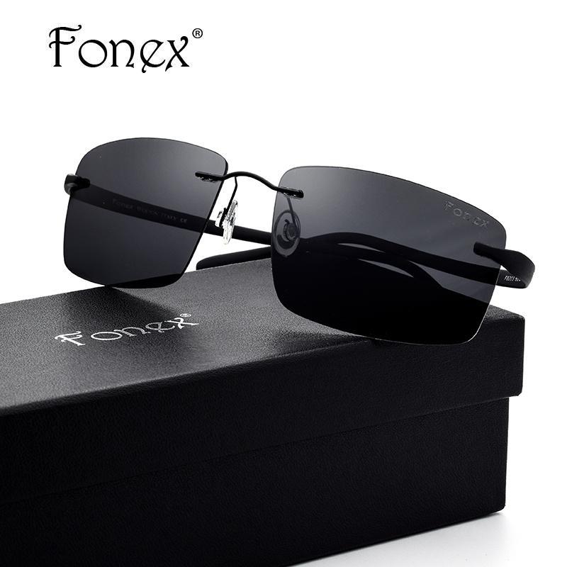 3fc986945fc86 Compre Fonex Sem Aro Óculos De Sol Dos Homens Titanium Tr90 Polarizados  Óculos De Sol Ultraleve Quadrado Óculos De Sol Para Os Homens Parafusos  Óculos ...