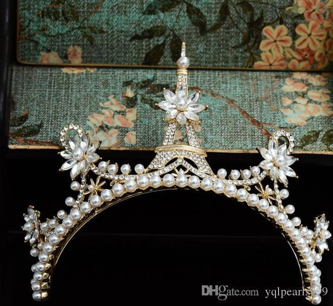 Gelin takı, yeni Pagoda Barok gelin, taç süsleme, el yapımı kristal düğün gelin dekorasyon