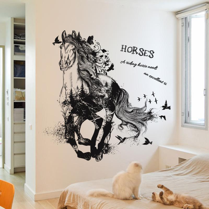 black run of horse removable cartoon wall stickers living room sofa