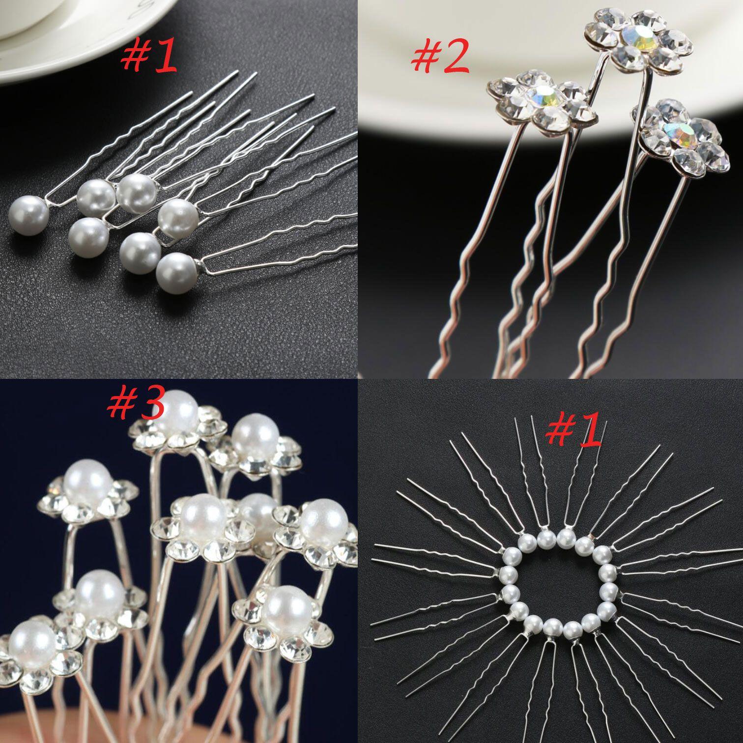 New Arrival 3 StylesWedding Hair Pins for Bridal Crystals Pearls Bridal Hair Pins Headpieces U Hairpin Fork Hair Pearl Flower