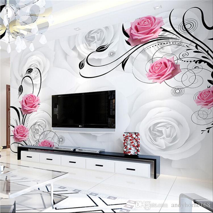 Индивидуальные 3D цветок фото обои Гостиная Спальня Диван ТВ фон обои розовые цветы настенная роспись обои рулон