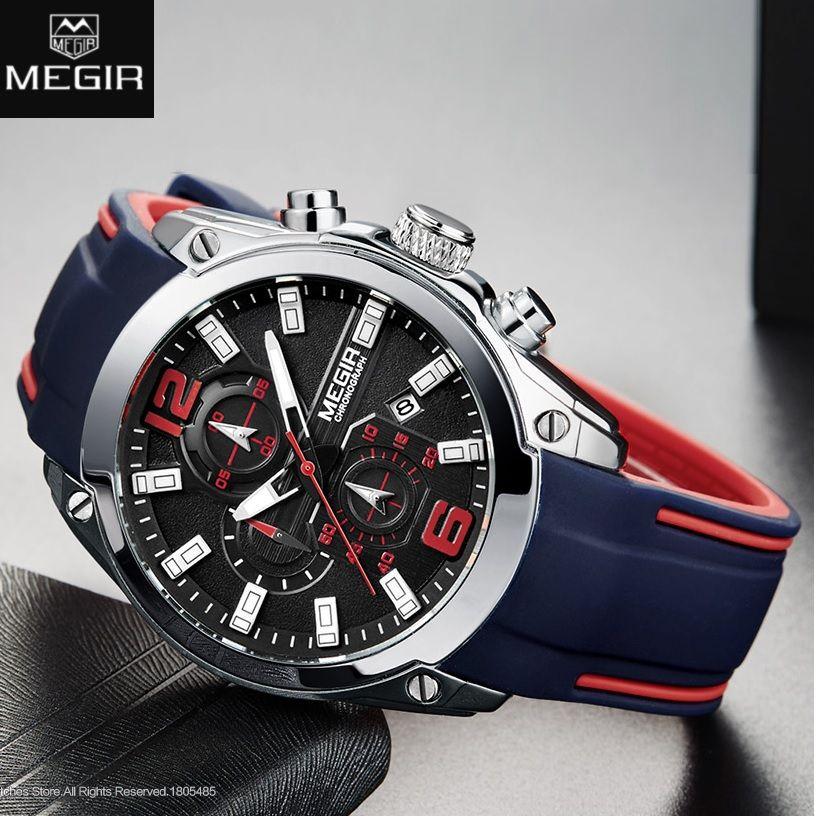 a778d73ab1e Compre Megir Homens Cronógrafo Analógico Relógio De Quartzo Com Data ...
