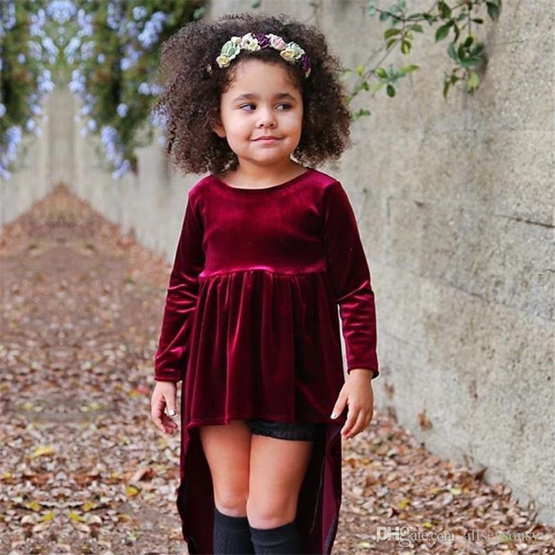 New Design Baby Girls Prom Birthday Party Clothes Toddler Blouses Sweaters Tops Outfits Wine Red Warm T shirt Girls dress