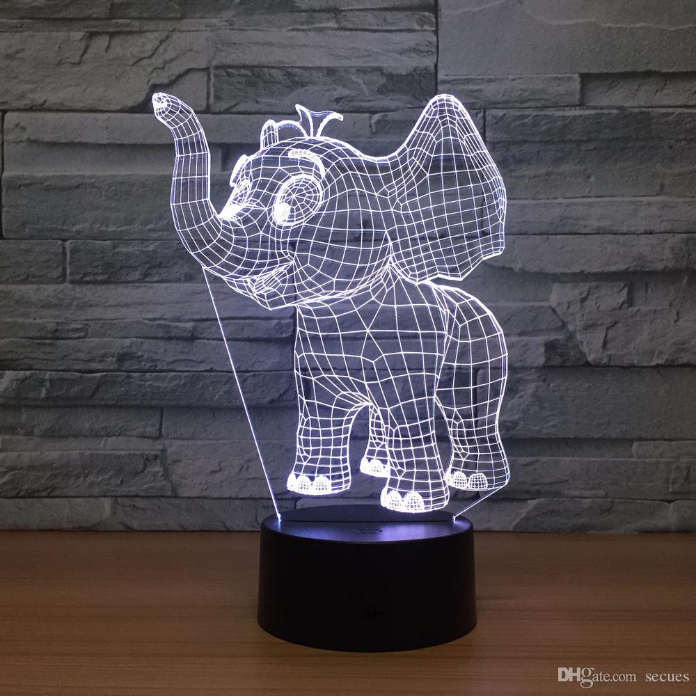Acheter elephant 3d optique illusion lampe night light dc 5 v usb alimenté aa batterie en gros dropshipping shippin gratuit de 13 07 du wiserepeater