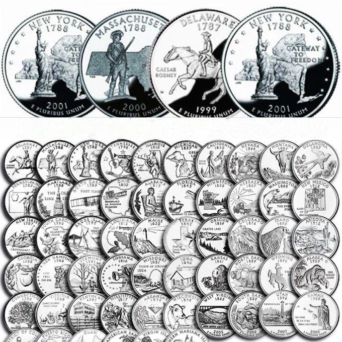 Großhandel Us Set Usa 25 Cent Quarter Coins Amerika 56 Staaten
