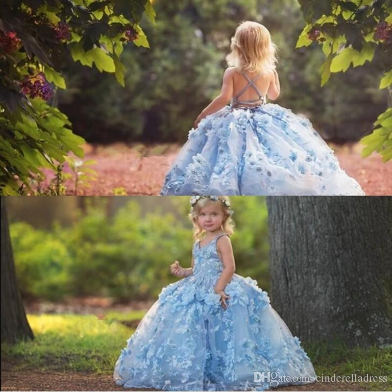 402c130c6be Boho 3D Floral Applique Flower Girls Dresses 2019 Cross Straps Backless  Communion Party Gowns Puffy Tulle Birthday Ball Gown Pageant Dress Flower  Girl ...