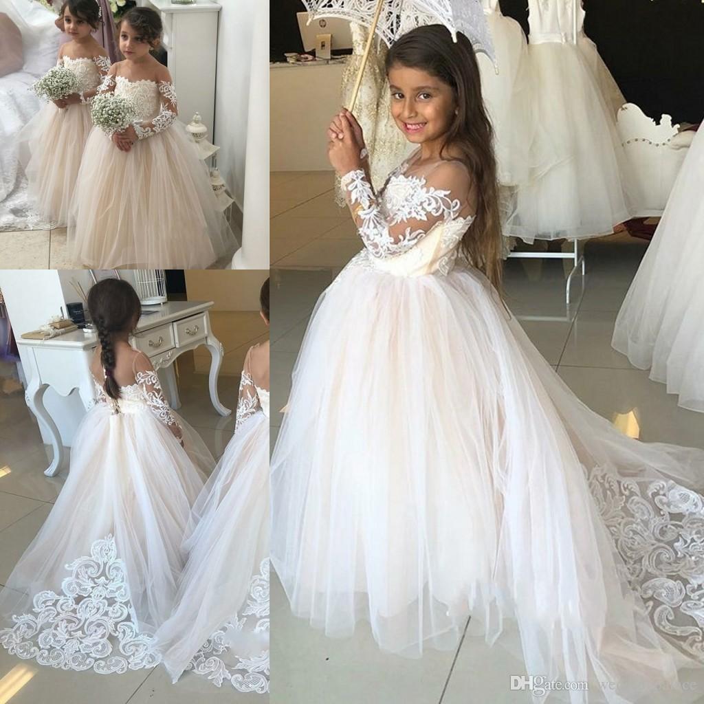 size 40 8a316 394ca Schöne lange Ärmel Spitze Tüll Blumenmädchen Kleid Kinder Formelle Kleidung  2019 Tüll Mädchen Festzug Kleid Graceful Hochzeiten Geburtstage