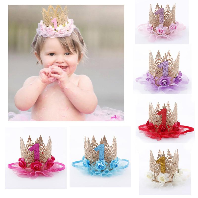 First Birthday Party Baby Girl Cap Hat Decorating Headband Hairband Princess Queen Crown Lace Hair Band Elastic Headwear Cake